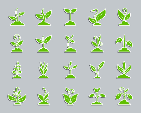 Grass silhouette sticker icons set. Web sign kit of organic plant. Sprout pictogram collection includes soybean, wheat, coffee. Simple green grass vector icon shape for badge, pin patch and embroidery