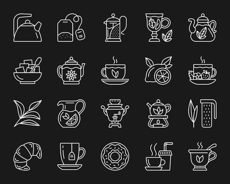 Tea attributes thin line icons set. Outline monochrome web sign kit of cup. Tea Time linear icon collection includes teapot, doughnut, coffee. Simple tea white contour symbol vector Illustration Illustration