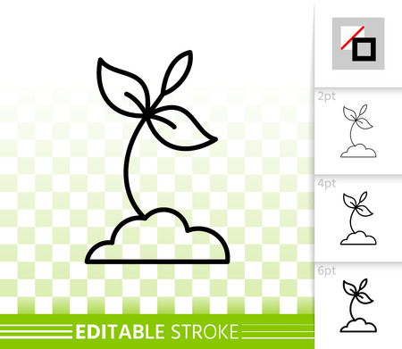 Sprout thin line icon. Outline web sign of organic seedling. Plant linear pictogram with different stroke width. Simple vector symbol, transparent background. Sprout editable stroke icon without fill