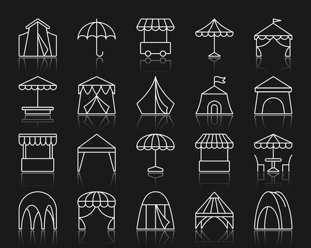 Conjunto de iconos de delgada línea de tienda. Esquema de kit de muestra web de paraguas. La colección de iconos lineales de circo incluye tienda, restaurante, camping. Símbolo de contorno blanco simple carpa con reflejo. Ilustración vectorial Ilustración de vector