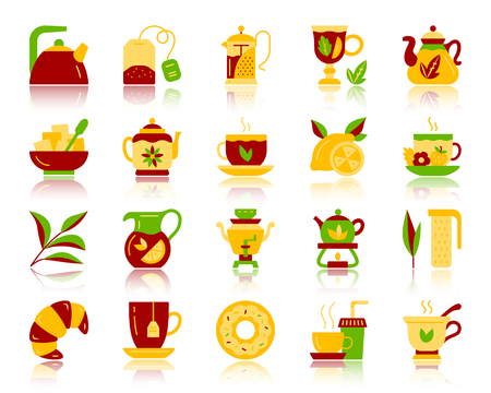 Tea flat icons set. Vector sign kit of cup. Tea time pictogram collection includes tea leaf, mug, kettle, doughnut, croissant. Simple tea colorful cartoon icon symbol with reflection isolated on white