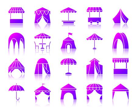 Iconos de silueta de tienda con reflexión. Kit letrero violeta de paraguas. La colección de pictogramas vectoriales de toldos incluye marquesina de circo, puesto de café en el jardín. Icono de tienda simple contorno púrpura aislado en blanco