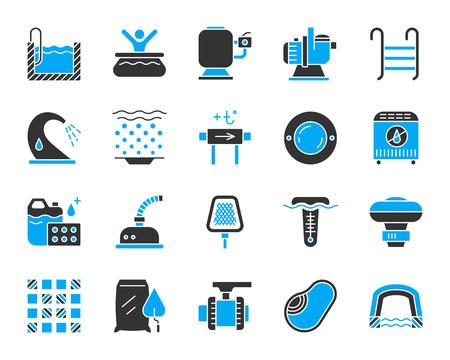 Swimming pool equipment silhouette icons set. Isolated sign kit of construction. Repair pictogram collection includes water heater, lamp, chlorine. Simple pool equipment symbol. Vector Icon shape Illustration