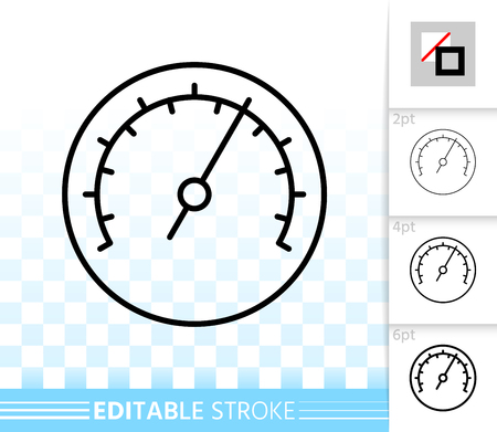 Barometer thin line icon. Outline web sign of meter. Speedometer linear pictogram with different stroke width. Simple vector symbol, transparent background. Barometer editable stroke icon without fill  イラスト・ベクター素材