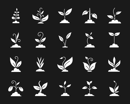 Grass silhouette icons set. Isolated web sign kit of eco plant. Organic Sprout pictogram collection includes leaves, flower, seedling. Simple white contour symbol. Bio green grass vector Icon shape