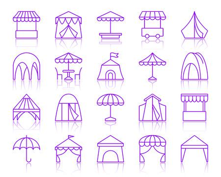 Conjunto de iconos de delgada línea de tienda. Esquema vector kit de signo violeta de paraguas. La colección de iconos lineales de circo incluye jardín, cafetería, puesto. Símbolo de contorno púrpura simple tienda con reflejo aislado en blanco