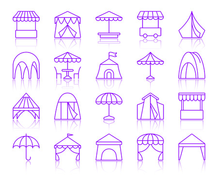 Tent thin line icons set. Outline vector violet sign kit of umbrella. Circus linear icon collection includes garden, cafe, stall. Simple tent purple contour symbol with reflection isolated on white