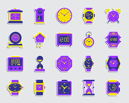 Watch sticker icons set. Flat sign kit of alarm clock. Clock pictogram collection includes smart watch, bracelet, arrow. Simple watch symbol. Colorful icon for patch, badge, pin. Vector Illustration