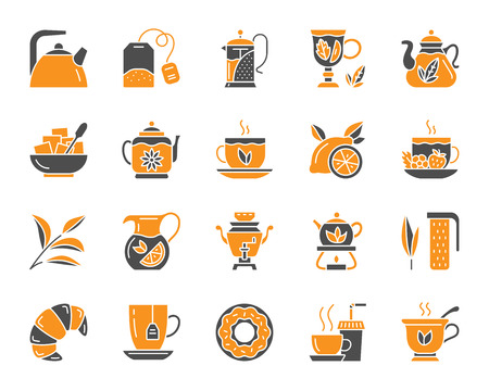 Tea attributes silhouette icons set. Isolated on white web sign kit of cup. Tea Time pictogram collection includes tea leaf, mug, kettle. Simple tea contour symbol. Vector Icon shape for stamp Ilustrace