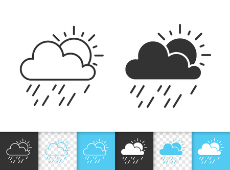 Rain and sun black linear and silhouette icons. Thin line sign of weather. Forecast outline pictogram isolated on white, transparent background. Vector Icon shape. Sunshower simple symbol closeup