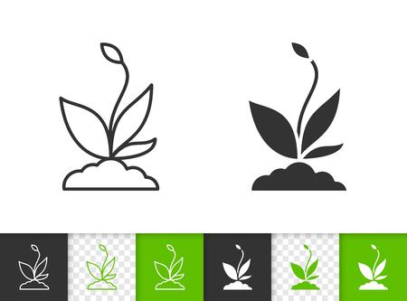 Ontkiemen zwarte lineaire en silhouet pictogrammen. Dun lijnteken van biologische zaailing. Plant overzicht pictogram geïsoleerd op wit, kleur, transparante achtergrond. Vector pictogram vorm. Ontkiemen eenvoudige symbool close-up