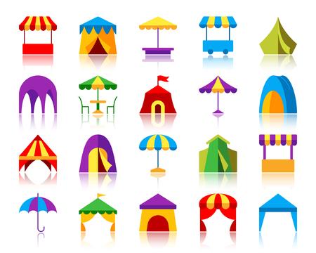 Conjunto de iconos planos de tienda. Kit de signo de vector web de paraguas. La colección de pictogramas de toldo incluye carpa de circo, pabellón, feria. Símbolo de icono de dibujos animados coloridos de carpa simple con reflejo aislado en blanco