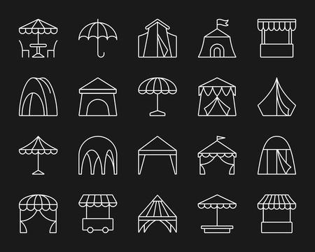 Conjunto de iconos de delgada línea de tienda. Kit de muestra monocromo de contorno de paraguas. La colección de iconos lineales de toldo incluye carpa de circo, tienda, camión, quiosco de comida. Ilustración de vector de símbolo de contorno blanco simple carpa