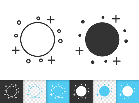 Full moon black linear and silhouette icons. Thin line sign of moonlight. Night outline pictogram isolated on white, blue sky, transparent background. Vector Icon shape. Moon simple symbol closeup Ilustração