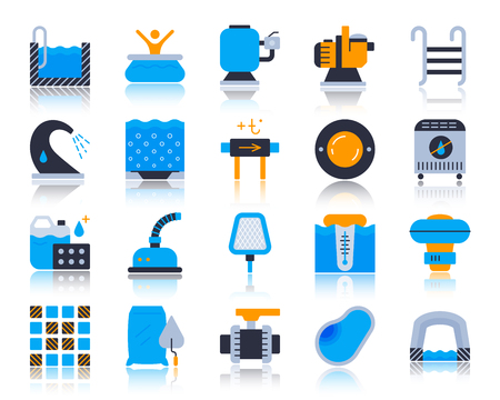 Swimming pool equipment flat icons set. Vector sign kit of construction. Repair pictograms includes water heater, lamp, chlorine. Simple pool accessories icon symbol with reflection isolated on white