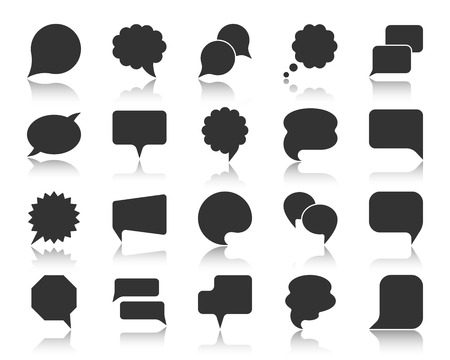 Speech bubble icon set. Web sign kit of comic tell. Communication chat pictograms balloon round scream, circle banner, social media comment. Simple vector black symbol. Bubbles different shape icons