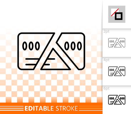 Chopped credit card cut thin line icon. Outline sign of bankrupt. Credit linear pictogram with different stroke width. Crisis simple vector transparent symbol. Card editable stroke icon without fill