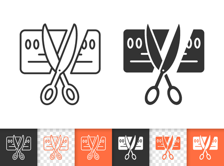 Card Scissors Cut black linear and silhouette icons. Thin line sign of bankrupt. Being Insolvent outline pictogram isolated, transparent. Vector Icon shape. Card Scissors Cut simple symbol closeup 스톡 콘텐츠 - 107524834