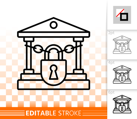 Closed Bank thin line icon. Outline sign of crash. Bankrupt linear pictogram with different stroke width. Simple vector symbol, transparent background. Finance crisis editable stroke icon without fill Vettoriali