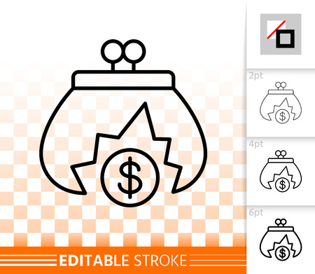 Empty Purse thin line icon Outline sign of falling coin. Bankrupt linear pictogram with different stroke width. Crisis simple vector transparent symbol. Empty coffers editable stroke icon without fill Иллюстрация