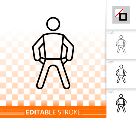Man with empty pockets thin line icon. Outline sign of no money. Bankrupt linear pictogram with different stroke width. Simple transparent vector symbol. Empty pocket editable stroke icon without fill