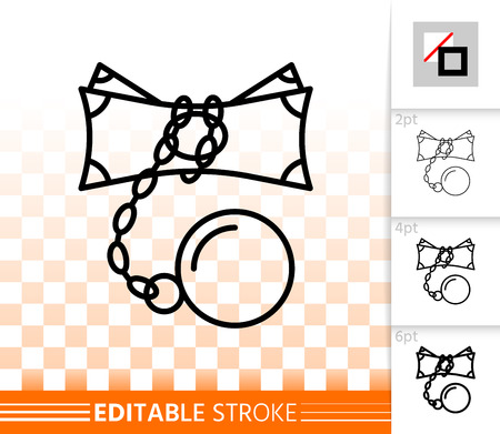 Money Locked thin line icon. Outline sign of finance blocked. Cash Chain linear pictogram with different stroke width. Simple vector symbol, transparent. Money Locked editable stroke icon without fill Vettoriali