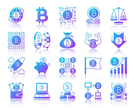 Bitcoin silhouette icons set with reflection. Sign kit of crypto currency. Digital Money vector pictogram laptop, financial wallet, electronic pay. Gradient contour simple bitcoin icon isolated white Vettoriali