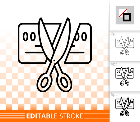 Card scissors cut thin line icon. Outline sign of bankrupt. Being insolvent linear pictogram with different stroke width. Simple transparent vector symbol. Card cut editable stroke icon without fill