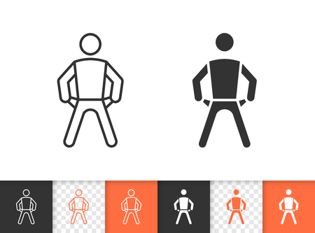 Empty pockets black linear and silhouette icons. Thin line sign of no money. Bankrupt outline pictogram isolated on white transparent background. Vector Icon shape. Empty pockets simple symbol closeup 일러스트