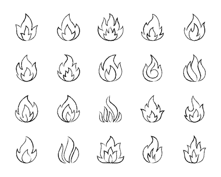 Fire charcoal icons set. Grunge outline web sign kit of bonfire. Flame linear icon collection includes danger, heat, flare. Hand drawn by pastel crayon simple fire symbol on white. Vector Illustration Stock Vector - 107495085