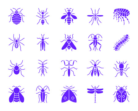Danger Insect silhouette icons set. Isolated sign kit of bugs. Beetle pictogram collection includes cricket, tick, grasshopper. Simple danger insect color contour symbol. Vector Icon shape for stamp