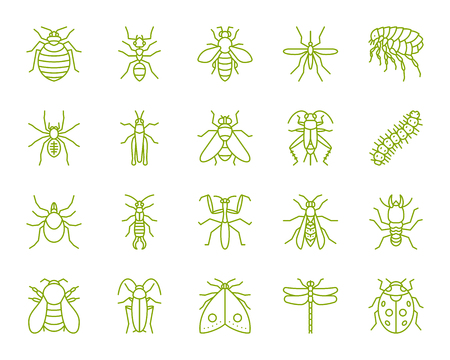 Danger Insect thin line icons set. Outline sign kit of bugs. Beetle linear icon collection includes termite, mole, bedbug. Simple danger insect contour symbol isolated on white. Vector Illustration Illustration