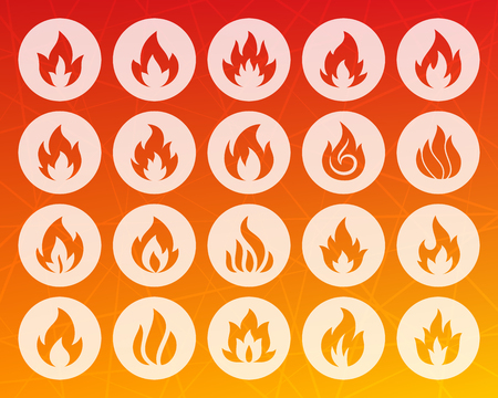 Fire different shapes icons set. Web sign kit of bonfire. Flame pictogram collection includes warning, hot, campfire. Simple fire vector symbol. Icon carved from circle on colorful background Illustration