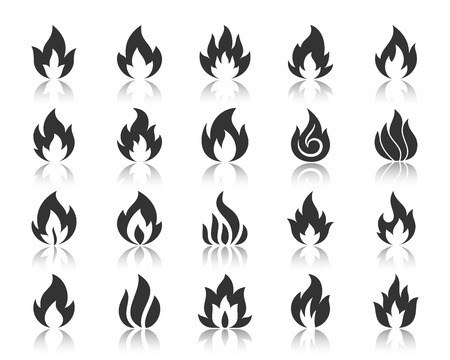 Fire silhouette icons set. Monochrome web sign kit of bonfire. Flame pictogram collection includes combustion fuel, candlelight, template. Simple vector black symbol. Fire shape icon with reflection Illustration