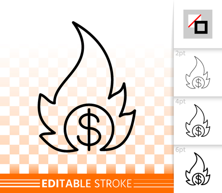 Money Fire thin line icon. Outline sign of fiery dollar. Bankrupt linear pictogram with different stroke width. Simple vector symbol, transparent backdrop. Money Fire editable stroke icon without fill