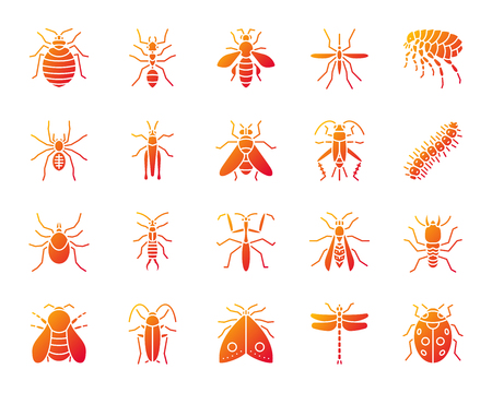 Danger insect silhouette icons set. Isolated on white sign kit of bug. Beetle pictogram collection includes termite, mole bedbug. Modern gradient simple contour symbol. Danger Insect vector icon shape Ilustração