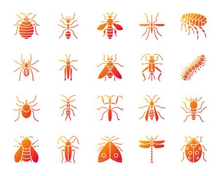 Gefahr Insektenschattenbildikonen gesetzt. Isoliert auf weißem Zeichensatz des Käfers. Die Käfer-Piktogramm-Sammlung enthält Termite, Maulwurfswanze. Einfaches Kontursymbol des modernen Verlaufs. Gefahr Insektenvektor Symbolform