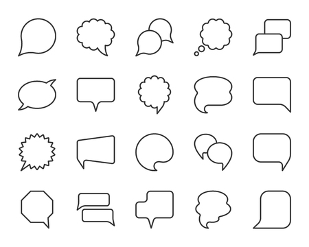 Speech bubble thin line icon set. Outline web sign of comic tell. Communication chat linear customer dialog icons, empty template, clean label. Simple speech bubble symbol isolated vector Illustration