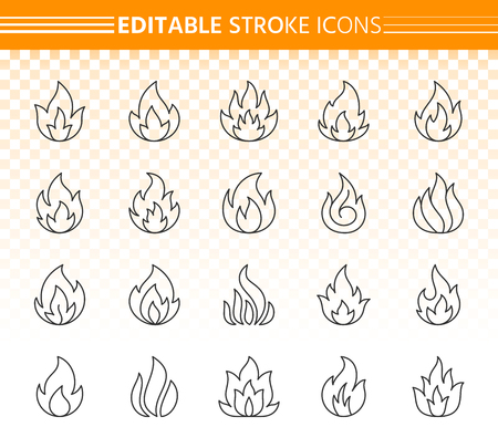 Fire thin line icons set. Outline web sign kit of bonfire. Flame linear icon collection includes warning, hot, energy, burn, campfire. Editable stroke without fill. Fire simple contour vector symbol Illustration