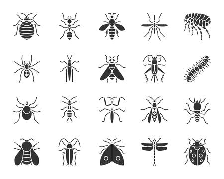 Conjunto de iconos de silueta de insectos de peligro. Kit de señalización de chinches. La colección de pictogramas de escarabajo incluye termitas, topo, chinches. Símbolo de peligro simple insecto negro aislado en blanco. Forma de icono de vector para sello