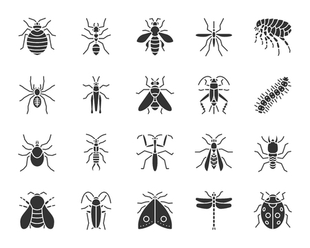 Danger Insect silhouette icons set. Sign kit of bed bug. Beetle pictogram collection includes termite, mole, bedbug. Simple danger insect black symbol isolated on white. Vector Icon shape for stamp 版權商用圖片 - 107524876