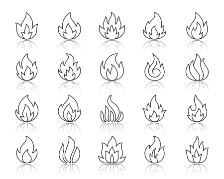 Different shapes of fire thin line icons set. Outline web sign kit of bonfire. Flame linear icon collection includes danger, heat, flare. Simple fire black symbol with reflection vector Illustration