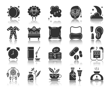 Insomnia silhouette icons set. Sign kit of sleep awake. Sleepless pictogram collection includes dreamcatcher, dream book medicine pills. Simple vector black symbol. Insomnia shape icon with reflection