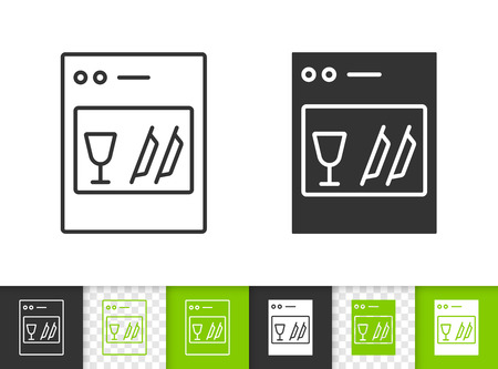 Dishwasher black linear and silhouette icons. Thin line sign of dish machine. Kitchen washer outline pictogram isolated on white transparent. Kitchen ware vector icon. Dishwasher simple symbol closeup