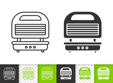 Waffle Iron black linear and silhouette icons. Thin line sign breakfast. Kitchen Appliance outline pictogram isolated on white, color, transparent Vector Icon shape. Waffle Iron simple symbol closeup