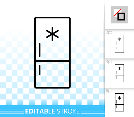 Fridge thin line icon. Outline web sign of freezer. Refrigerator linear pictogram with different stroke width. Simple vector symbol, transparent background. Fridge editable stroke icon without fill