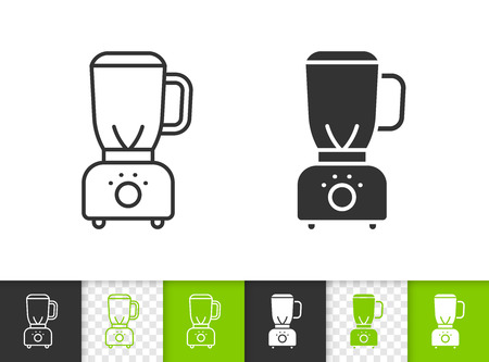 Blender black linear and silhouette icons. Thin line sign of hand mixer. Shredder outline pictogram isolated on white transparent background. Kitchen ware vector icon. Blender simple symbol closeup Ilustracja