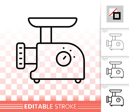 Meat grinder thin line icon. Outline sign of kitchen equipment. Mincer linear pictogram with different stroke width. Simple vector transparent symbol. Meat grinder editable stroke icon without fill