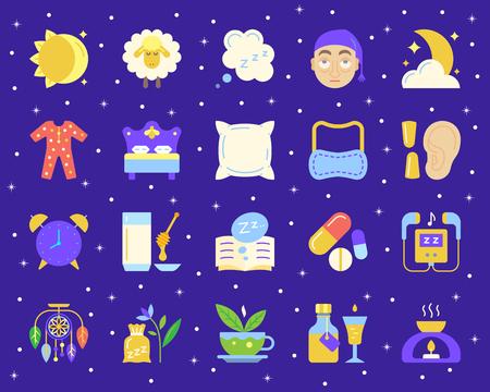 Conjunto de iconos planos de insomnio. Kit de señal web de sueño. La colección de pictogramas de sueños incluye hombre cansado, rostro exhausto, pijamas de noche. Símbolo de icono de dibujos animados de insomnio simple aislado en blanco. Ilustración vectorial