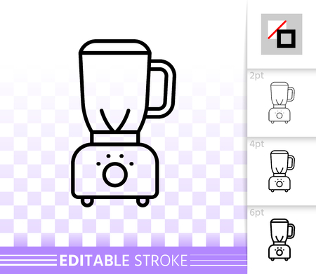 Blender thin line icon. Outline web sign of hand mixer. Shredder linear pictogram with different stroke width. Simple vector symbol, transparent background. Blender editable stroke icon without fill